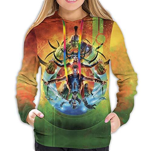 Thor Ragnarok Hoodies Damen Sweatshirt Pullover 3D Print Casual Jacke Mädchen Hoodie Tops Gr. M, Schwarz