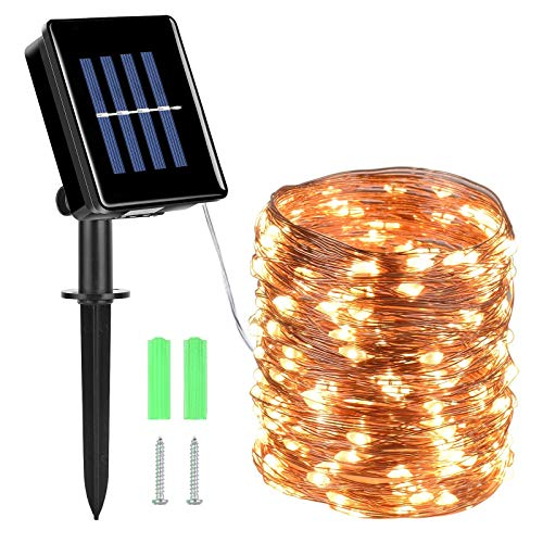 Mixhomic Solar String Lights, 72ft 200 LEDs 8 Modes Outdoor Copper Wire String Lights, IP65 Waterproof Fairy Decorative Lights for Garden Outdoor, Wedding, Party, Christmas (Warm White)