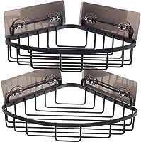 GEMITTO Shower Caddy, 2-Pack Bathroom Corner Shelf Self-adhesive Kitchen Organizer Racks Bracket 6 Stickers+2 Hooks,...