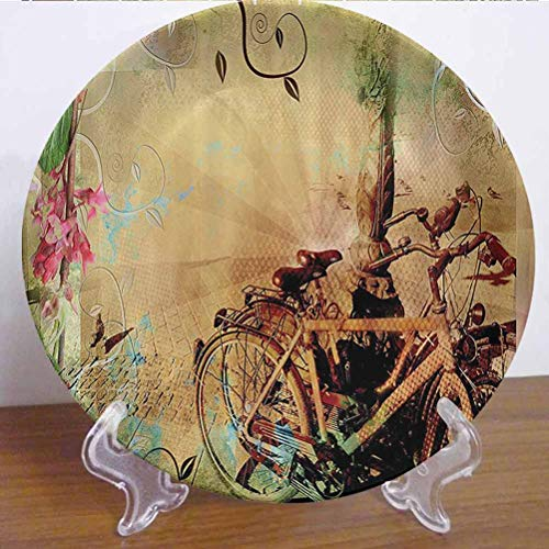 10' Bicycle Decor Ceramic Tableware Plate Double Exposure of Bikes in An Urban Street with Retro Swirling Floral Backdrop Effects Decor Accessory for Upscale Events, Dinner Parties, Weddings, Catering