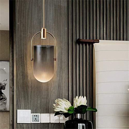 ZGQA-Lámpara de techo Simplicidad de cristal individual Restaurante Bar Cafetería Personalidad Creativa Mesita de noche Led Decorativa 20 * 42cm Decoración