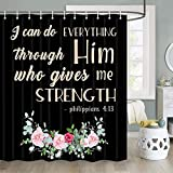 Inspirational Quote Shower Curtain, I Can Do Everything Through Him Who Gives Me Strength Bible Verse Scripture Quotes Shower Curtain, Fabric Shower Curtain Hooks Include, 70 in
