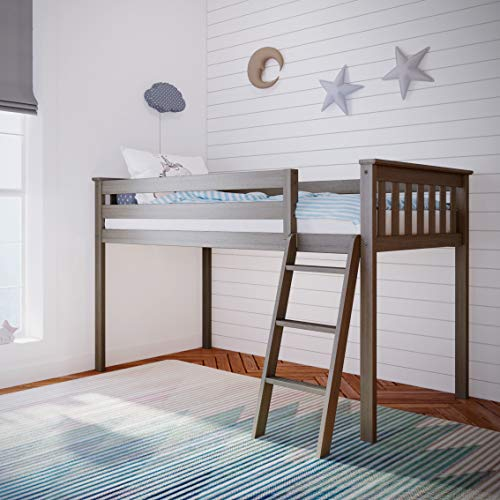 Max & Lily Solid Wood Twin-Size Low Loft Bed, Clay