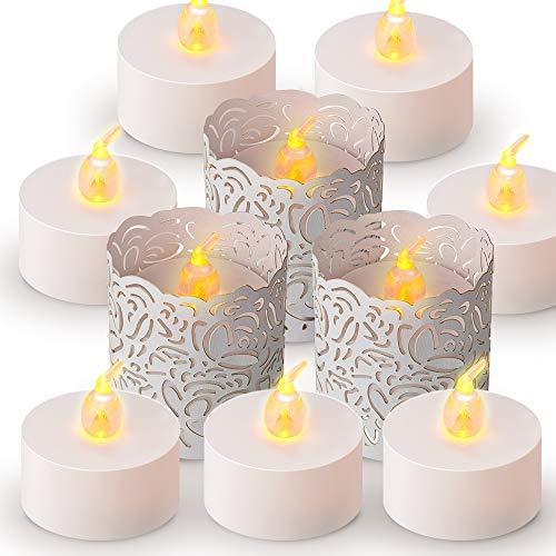 ANZOME LED Kerzen mit Weiß Papier Teelichthalter, 30 pcs Flameless teelichter led Dekoration für halloween deko, Hochzeit, Party, Home Decor - 30 flammenlose kerzen, 30 Teelichthalter