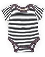 BirdRock Baby Organic Cotton Bodysuit - Onesie for Newborn and Infant Girls and Boys (Slate Stripe, 3-6 Months)