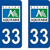 SAFIRMES 2 Autocollants de Plaque d'immatriculation Auto 33 Aquitaine - Logotype