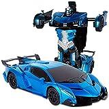 Kikioo Transformateur Télécommande Voiture 1:12 Radio RC Électrique Rechargeable Robots Blue Rock 2.4G 4WD Camion...
