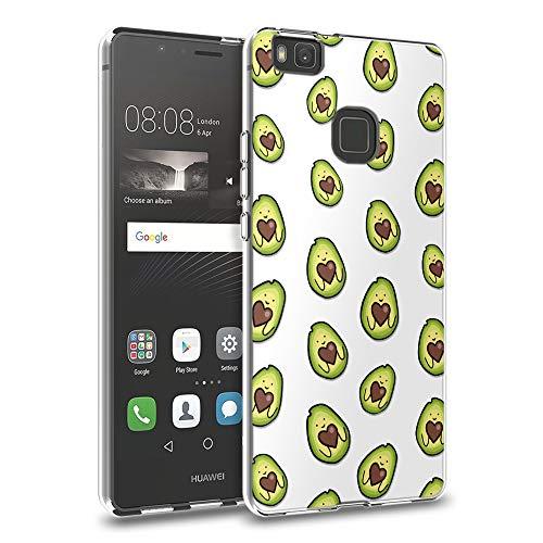 Pnakqil Funda Huawei P9 Lite, Silicona Transparente con Dibujos Diseño Slim Gel TPU Antigolpes Ultrafina de Protector Piel Case Cover Cárcasa Fundas para Movil Huawei P9Lite, Love Avocado