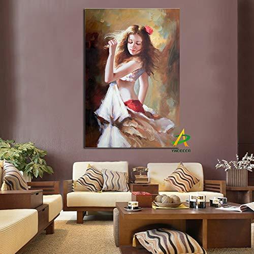 wZUN Hermosa Bailarina Sexy Girl Pintura al óleo Abstracta impresión HD en Lienzo póster Arte de la Pared Imagen de la Pared para la decoración de la Sala de Estar 40x60cm