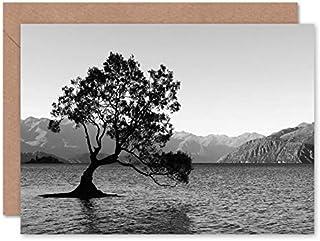 Fine Art Prints The Lone Tree Lake Wanaka-gratulationskort med kuvert inuti premiumkvalitet