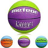 meteor Mini Basketball Kinder Größe #3 ideal auf die Kinderhände von 4-8 Jährigen idealer Jugend Basketball für Ausbildung weicher Basketball mit griffiger Oberfläche (Violett & Grün - Größe #3)
