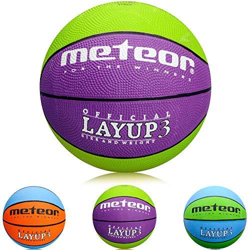 meteor Ballon de Basket Basketball Extérieur et Intérieur Surface Rugueuse Granuleuse Mixte Couleur Enfant Jeunesse Doux et Bouncy Taille 3 Idéal pour Formation/Doux Basket-Ball Layup 3 (Violet/Vert)