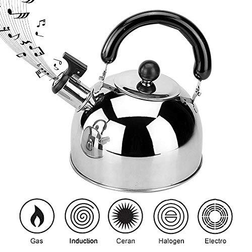 perfecti 3L Flötenkessel Edelstahl Teekessel Camping Wasserkessel Portable Kocher Pfeifkessel Universal Für Induktionsherd, Gasherd