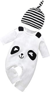 Ropa Bebe Niño Invierno Conjunto Recién Nacido Niño Caricatura Panda Mameluco Monos de Manga Larga Camiseta+ Sombrero Conjuntos Bebé Pijama Ropa Chico 6 Meses,3-24 Meses