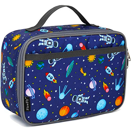 Kids Lunch box Insulated Soft Bag Mini Cooler Back to School Thermal Meal Tote Kit for Girls, Boys (Astronaut&Robot)