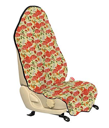 ABAKUHAUS Theekransje Beschermhoes voor autostoelen, Potten Cups op Bloemen, met Antislip Achterkant, Universele Maat, 75 x 145 cm, Veelkleurig