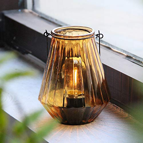 Battery Operated Lamp Hanging,Cordless LED Table Lamp with Timer, Decorative Lantern Lights Outdoor Indoor Decor for Patio/Home/Hallway/Deck/Spareroom/Bedroom/Tabletop/Fireplace/Vintage Style (Amber)