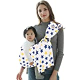 POLKA TOTS Baby Sling Ring Sling Carrier Wrap, Soft Lightweight Cotton Slings (Star Print)