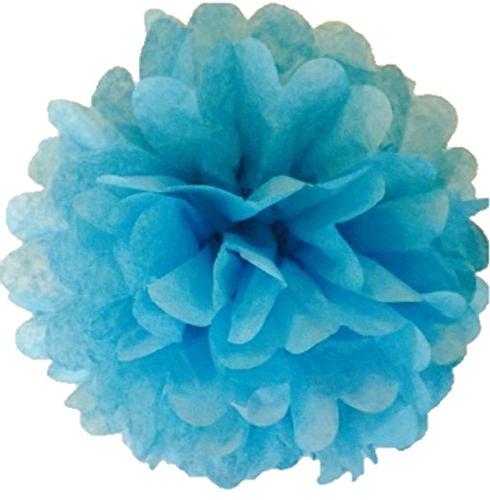 """Paquete de 10pompones de papel de seda decoraciones de fiesta de boda de más de 20colores para Choisir Pom Pom, azul celeste, 6""""(15cm)"""