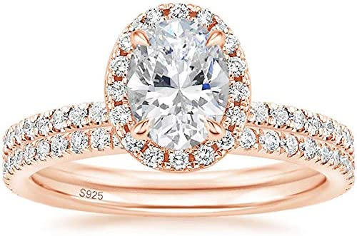 EAMTI 1 25CT 925 Sterling Silver Cubic Zirconia Bridal Rings Sets Rose Gold Oval Cut CZ Engagement product image