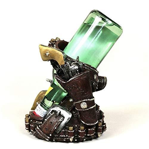 Soporte para botellas de vino, diseño de revólver, de resina, decoración para botellas de vino, accesorios de adorno (color: multicolor)