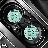 AFPANQZ 2 Pack Car Coasters for Drinks Absorbent, French Bulldogs Car Cup Holder Coaster for Your Car Removable Auto Accessories, Keep Car Clean for Women Girls Teal Blue