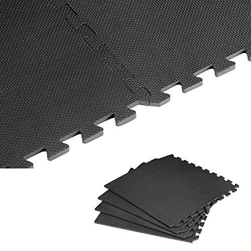 PowerTools 60X60cm Schutzmatten Set Puzzlematte Bodenschutz Matte, 4PCS Bodenschutzmatte Fitness, für Fitnessraum, Keller, Bodenschutz-Matte Trainingsmatte Puzzlematte Fitnessmatte,(1cm Dick)