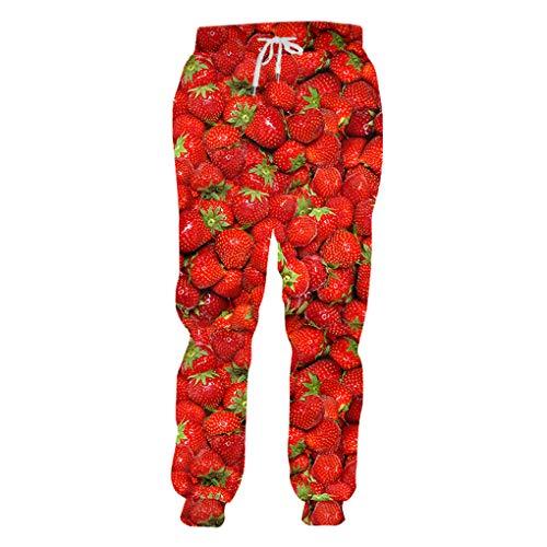 3D-Druck M?nner Frauen Beil?ufige Hosen Obst Erdbeere Freizeit Lustige Jogginghose Strawberry 4XL