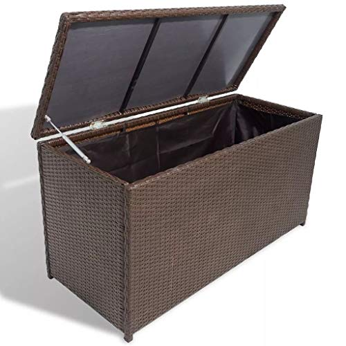 FTFTO Decoration Accessories Garden Storage Chest Poly Rattan Brown Waterproof Storage Container with Gas Spring Mechanism
