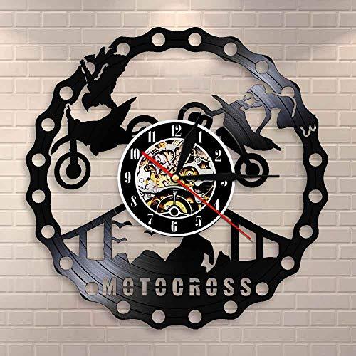 Motocross Racing Brappp decoración moderno reloj de pared Dirtbike truco montar vinilo récord reloj freestyle motocicleta Racing Riders regalo