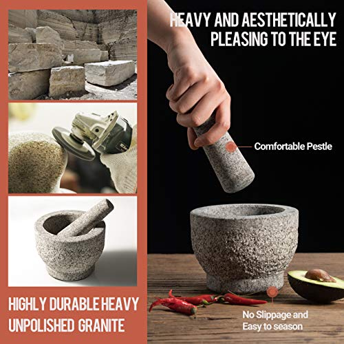 Tera Mortar and Pestle Sets Large Capacity 1/2L with Garlic Peeler/Unpolished Granite Organic Pill Crusher, Food Safe Grey Stone Spice Grinder