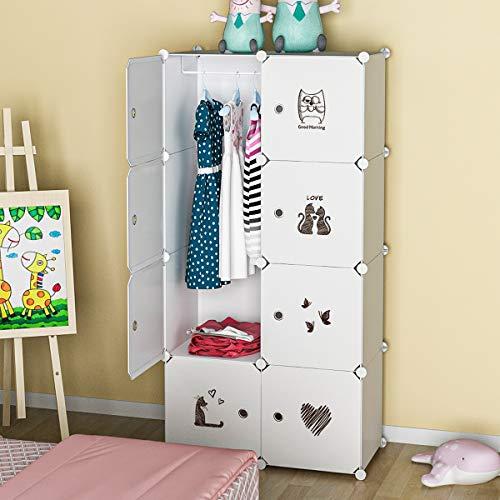 "KOUSI Kid Clothes Storage Organizer Baby Dresser Kid Closet Baby Clothes Storage Cabinet for Kids Room Baby Wardrobe Toddler Closet Childrens Dresser,18"" Deep, 5 Cubes&1 Hanging Sections"