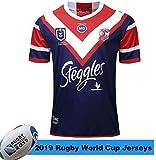 CHERSH 2019-2020 Australie Coq Accueil Football Fans Jersey Jersey Supporter Shirt à Manches Courtes de Formation Remplacer Quick Dry Sportwear for Sport Fitness Blue-S (Color : Blue, Size : Large)