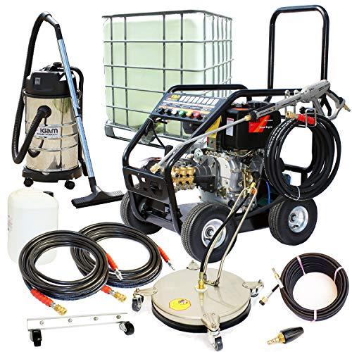 Kiam Business Start-up-Pack: KM3600DXR 10PS Diesel Hochdruckreiniger Getriebemodell, KV30B Nass & Dry Staubsauger, VT62-300S Rotary Cleaner, Turbo Düse, 1000L IBC und Zubehör