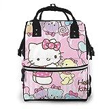 Yusanbaihuodian - Mochila para cambiar pañales, diseño de Hello Kitty con oso multifunción, resistente al agua, mochila de viaje para maternidad