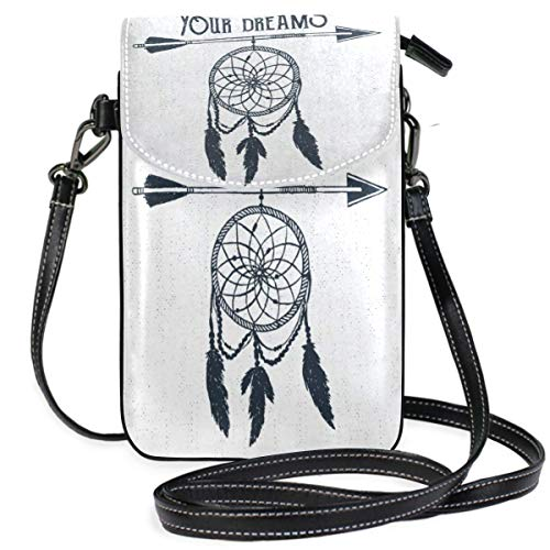 XCNGG Monedero pequeño para teléfono celular Hand Drawn Label With Dream Catcher Cell Phone Purse Wallet for Women Girl Small Crossbody Purse Bags