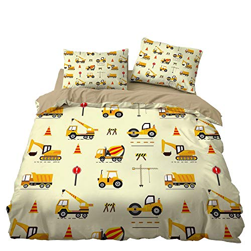 GD-SJK Bedding Sets for Children, Galaxy Print, Space Motif, Children's Bedding Set, Soft Bedding, Duvet Cover and Pillowcases, Polyester, Children's Bedding, Digger (220 x 240 cm, A03)