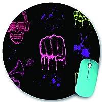 PATINISA ラウンドマウスパッド、さまざまな音楽アイコン孤立したさまざまな音楽アイコンのセット、PC ノートパソコン オフィス用 円形 デスクマット、ズされたゲーミングマウスパッド 滑り止め 耐久性が 200mmx200mm