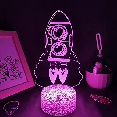 Luz nocturna 3D para niños, cohete, nave espacial 3D, lámpara LED de lava, luz nocturna para niños, dormitorio, decoración, cohete, juguete de Navidad, cumpleaños, escritorio, lámpara de mesa