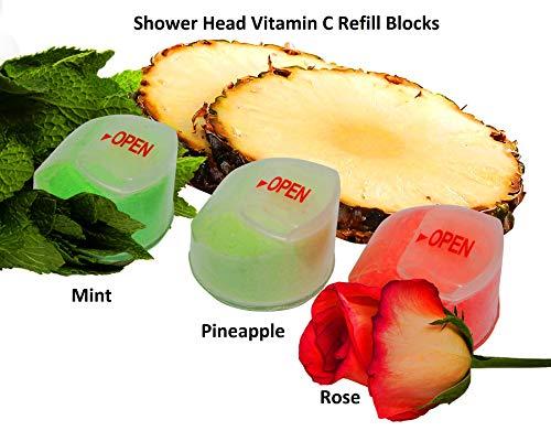 saine Splash Lot de 3 blocs de recharge de vitamine C filtre de douche, 1 x Ananas, 1 x rose, 1 x Menthe Saveur Parfums pour la vitamine C filtré pommeaux de douche (Ananas, Rose, Menthe)