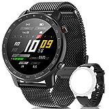 IYAQILEHE Smartwatch, Reloj Inteligente IP67 Pantalla Táctil Completa Pulsómetro Presión Arterial Monitor de Sueño 8 Modos Deportes Pulsera Actividad para Hombre Mujer Compatible con iOS y Android