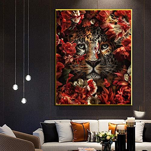 LLXXD Tierkunst Poster druckt Dschungel Tiger Leopard Gemälde auf Leinwand Home Wandbilder für Wohnzimmer Home Wanddekoration-50x70cm (kein Rahmen)