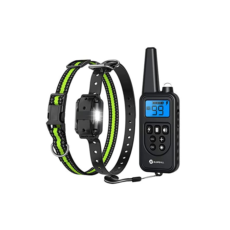 dog supplies online slopehill dog training collar with beep, vibration, shock and light training modes, rechargeable dog shock collar with 2600 feet remote range, waterproof, adjustable