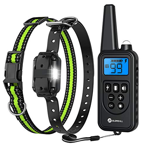 Slopehill Dog Training Collar, Waterproof Dog Shock Collar with Remote, Rechargeable Dog Collar with Vibration, Beep Shock Modes, Adjustable