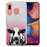 FINCIBO Case Compatible with Samsung Galaxy A20 / A30 6.4 inch 2019, Shiny Sparkling Silver Pink Gradient 2 Tone Glitter TPU Protector Cover Case for Galaxy A20 A30 - Cute Black Spot Cow