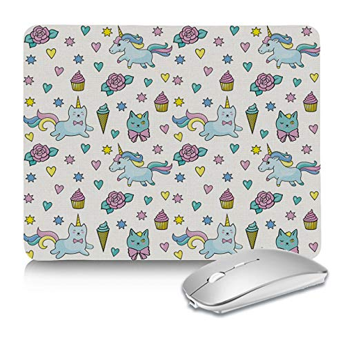 Mouse Pads for Computers Magic Unicorn Colorful Fantasy Cake and Ice Cream Pattern Nonslip Rest Mousepad for Office,Gaming,Computer, Laptop & Mac at Home Or Work