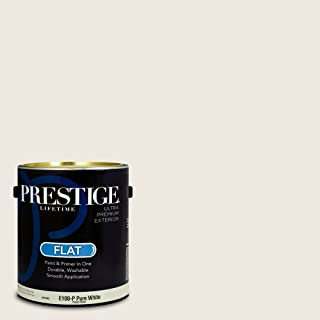 Prestige Paints E100-P-SW7001 Exterior Paint and Primer in One, 1-Gallon, Flat, Comparable Match of Sherwin Williams Marshmallow, 1 Gallon, SW12-Marshmallow