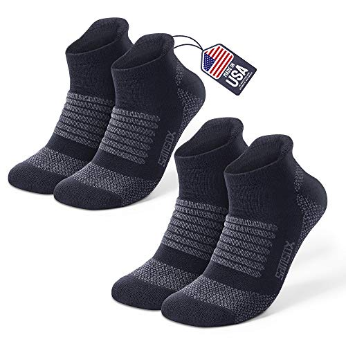 Samsox 2-Pair Merino Wool Running Socks, Made in USA, Black L/XL (Men 10-13 / Women 12+)