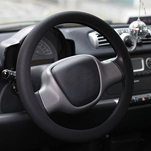 Bostar Funda Silicona de Volante de Coche Resplandor de la cubierta de guante auto del volante del coche de textura de cuero de silicona(Negro)