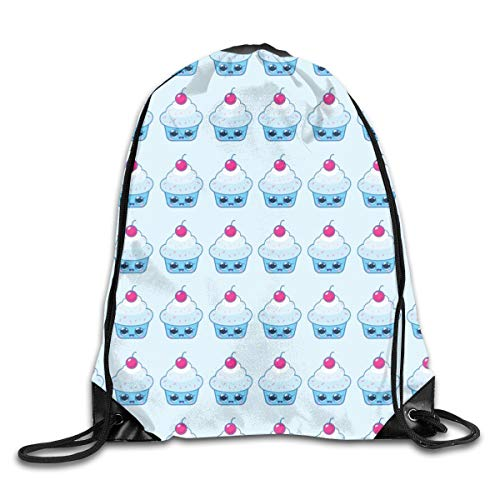 show best Blueberry Cupcake Drawstring Gym Bag for Women and Men Polyester Gym Sack String Backpack for Sport Workout, School, Travel, Books 14.17 X 16.9 inch